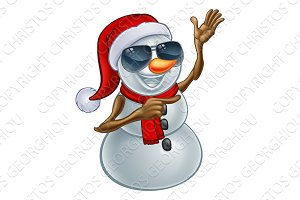 Cool Christmas Snowman in Santa Hat