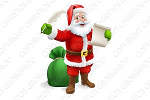 Santa Claus Checking Christmas Gift