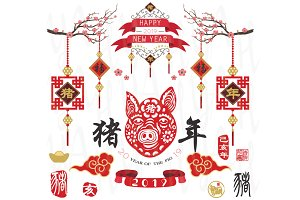 Year Of The Pig 2019 Elements