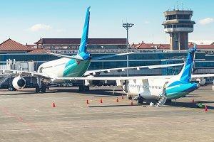 Airplanes at runway, Denpasar airpor