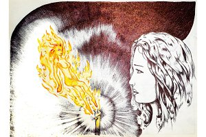 The girl at the candle with a fire