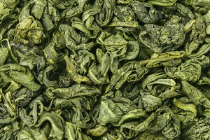Dry green tea leaf