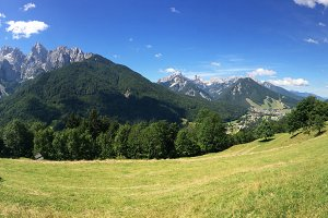 Mountain panorama in the Julian alps