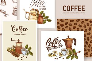 Coffee bundle, seamless, composition