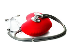 Medical stethoscope with red heart i