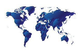 World map metallic blue gradient