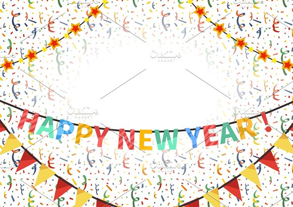 happy new year card template illustrations