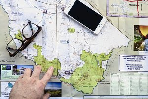 Map, Glasses, and iPhone