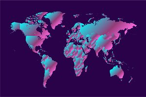World map metallic neon gradient