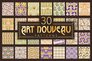Art Nouveau vector patterns