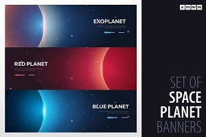 Space banner. Mars, Earth, Exoplanet