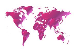 World map metallic pink gradient