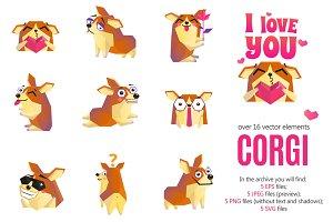 Corgi Emoticon Stickers Set