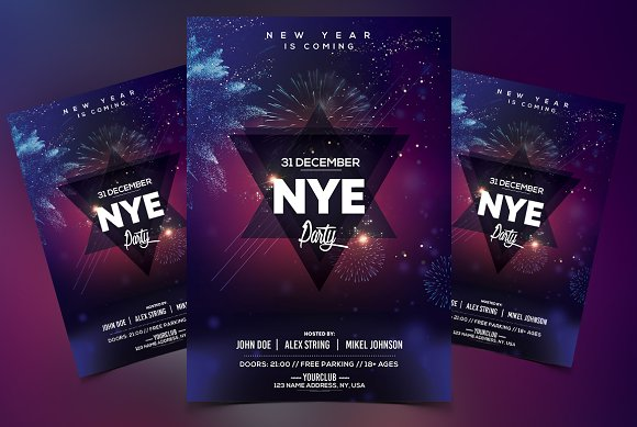 2019 New Year PSD Flyer Template