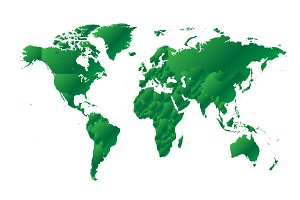 World map metallic gren gradient