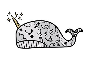 Vector cute little narwhal art