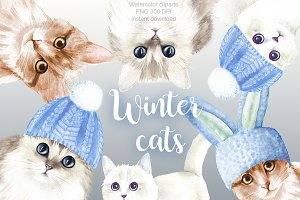 Winter cats cliparts