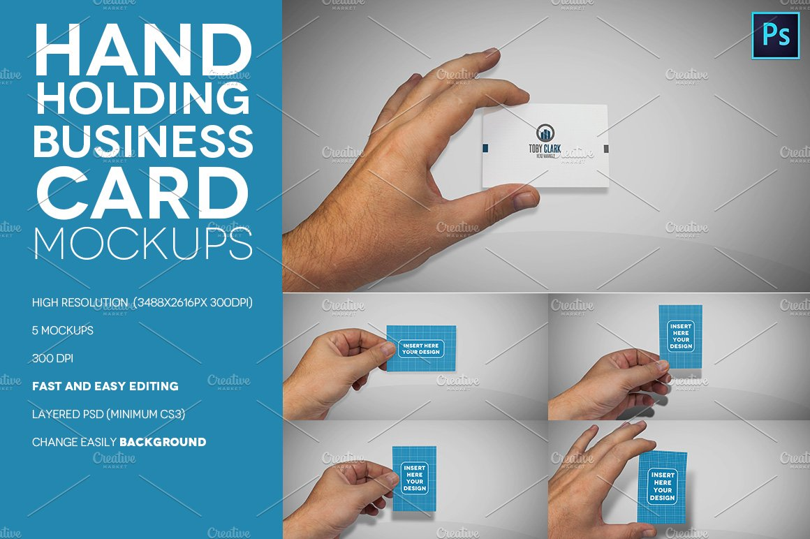 Hand Holding Business Card Mockups ~ Product Mockups ~ Creative Market
