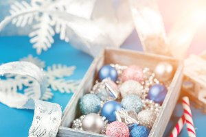 Pink and blue Christmas balls and