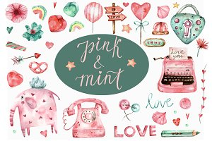 Pink and Mint. Watercolor set