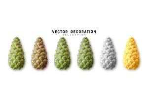 Realistic pine cones vector