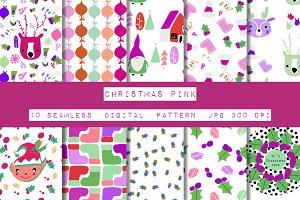 Christmas Deer Pink Seamless Pattern