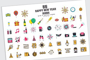 55 happy new year icons in 3 styles