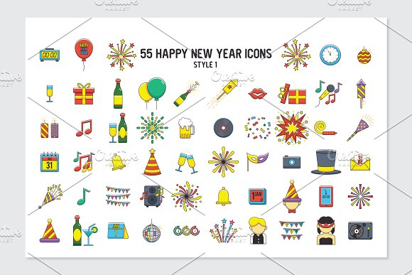 55 happy new year icons in 3 styles icons creative market