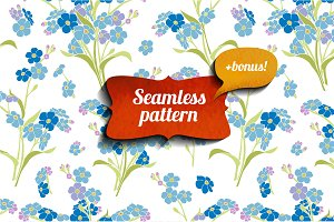 forget-me-not seamless pattern+bonus