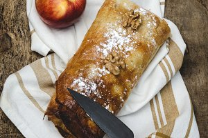 Apple and walnut strudel