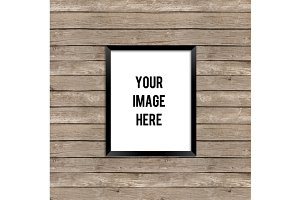 Black Frame Product Mockup Wood
