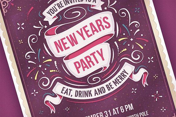 new year s party invitation invitation templates creative market