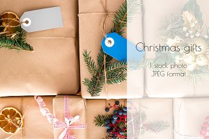 Christmas gifts packed in craft