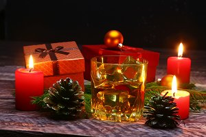 Cognac or whiskey in glass