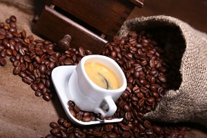 Fresh roasted coffee beans in burlap