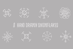Snowflakes. Hand drawn.