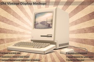 Old Vintage Display Mockups 6 PSDs