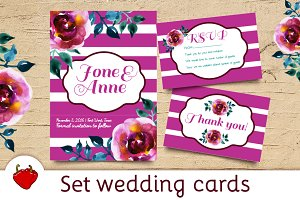 Wedding set watercolor postcards