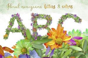 Floral Botanical Monogram letters