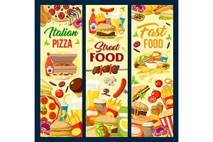 Fast food burgers, pizza and dessert
