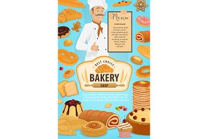 Bakery shop pastry, cakes and baker