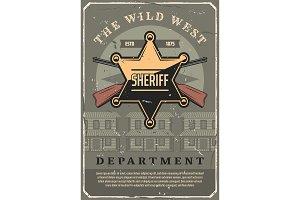 Wild West sheriff star and gun