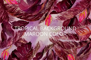 Watercolor tropical maroon