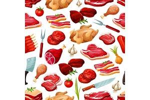 Butcher shop farm meat pattern