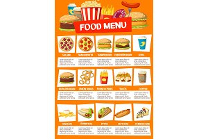 Fast food menu meals and drinks