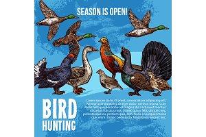 Wild birds, hunting sport. Vector