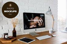 4 Mockups - iMac home office