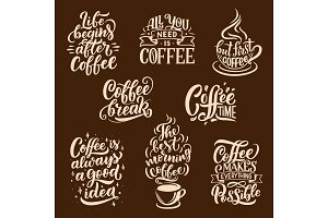 Steaming coffee, vector lettering