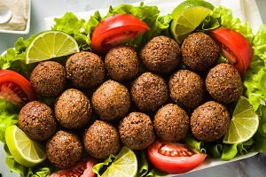 banner of vegan falafel with cashew