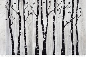 Birch tree silhouettes, EPS, SVG